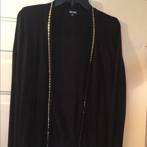 Shu Shu Med, long sleeve black/gold trim cardigan